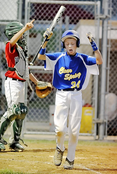 Clear Spring's Zach Greenlee (34) reacts after being called out on strikes with the bases loaded in the sixth inning against West Salisbury in Wednesday's winners' bracket final of the Maryland 11-12 Little League state tournament at Brunswick, Md.