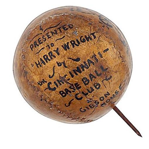 The disputed 1869 Cincinnati Red Stockings' trophy ball.