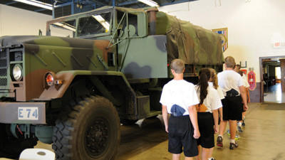 Cadets visited the Pennsylvania National Guard Armory to learn about equipment used in the military Wednesday afternoon.
