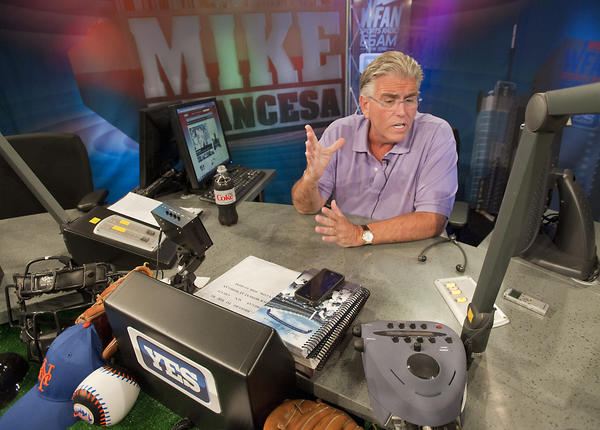"Mike Francesa, prominent sports talk show host, talks about ¿Mike's On: Francesa on the FAN,"" at the Pioneering radio station WFAN in New York City on Tuesday, July 17, 2012. The pioneering station is celebrating it's 25th Anniversary."
