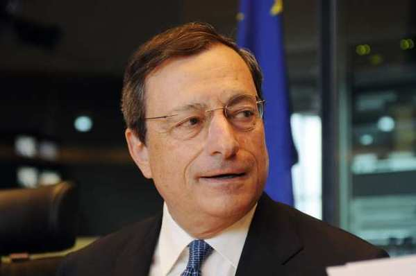 "European Central Bank President Mario Draghi earlier this month. On Thursday, Draghi said the ECB would ""do whatever it takes to preserve the euro."""