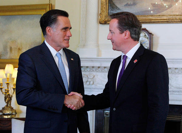 U.S. Republican presidential candidate Mitt Romney meets with British Prime Minister David Cameron at 10 Downing Street in London, July 26, 2012.