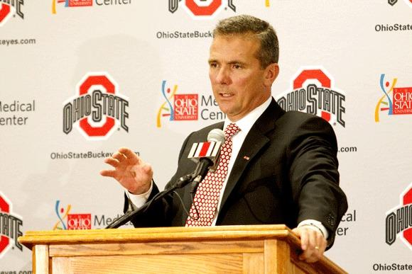 Urban Meyer answers questions after being introduced earlier this year as Ohio State's coach.