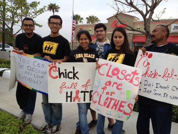 O.C. protesters speak out against anti-gay stance at Chick-fil-A