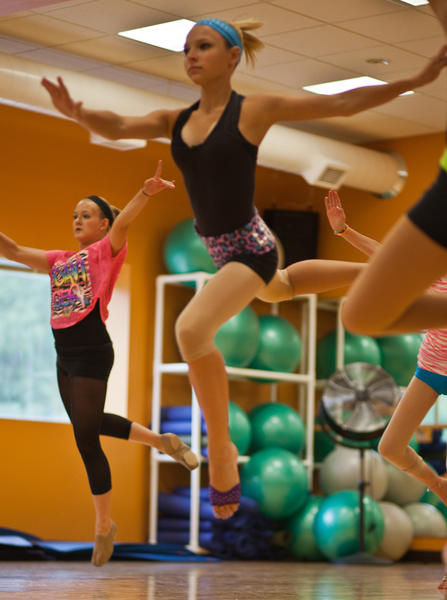 MacKenna Hartman of Midland (foreground) and Katelyn Bayerl of Menominee concentrate on their moves at last year's Dance North dance camp. This year's dance intensive will take place July 31-Aug. 3 in Harbor Springs, concluding with a public performance on Friday, Aug. 3, in Mackinaw City.