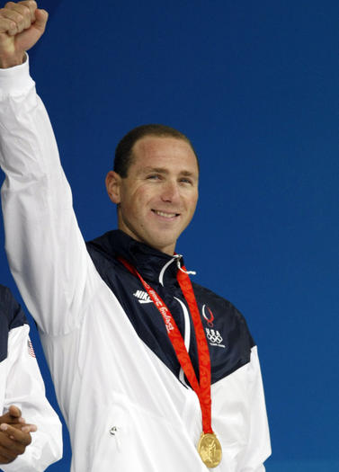 Jason Lezak after his winning anchor leg at the 2008 Olympics.  (Scott Strazzante / Chicago Tribune)