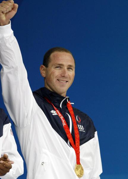 Jason Lezak after his winning anchor leg at the 2008 Olympics.