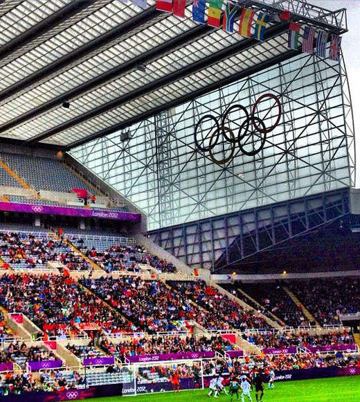 London 2012: Stunning mobile uploads from the Summer Olympics: Flags, rings, crowd and a corner kick at the Leazes End. Have I done enough of these yet? #olympics --@CaulkinTheTimes