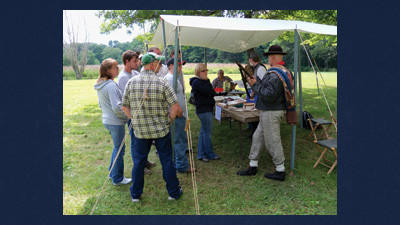 Re-enactors interpreting what life was like on the frontlines during the Civil War.