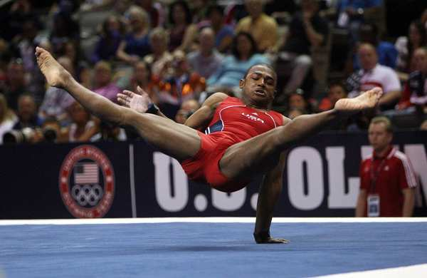John Orozco performs a floor exercise during the final round of the 2012 U.S. Olympic Trials for men's gymnastics at HP Pavilion in San Jose.