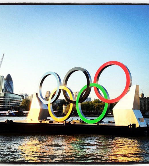 London 2012: Stunning mobile uploads from the Summer Olympics: The #london2012 #olympicrings with #toweroflondon and the #gherkin in the background #londonloveaffair #architecture #olympics -- @sonisandwich