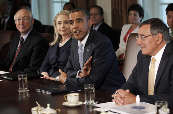 President Obama meets with members of his cabinet in the Cabinet Room of the White House in Washington, Thursday. From left are, Interior Secretary Ken Salazar, Secretary of State Hillary Rodham Clinton, the president, and Defense Secretary Leon Panetta.