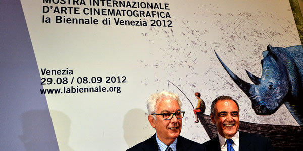 Venice Biennale of the International Film Festival President Paolo Baratta (L) and newly appointed Director Alberto Barbera.