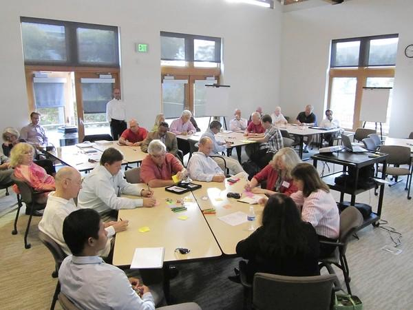 Community members attend the Laguna downtown and canyon parking management plan workshop July 18.
