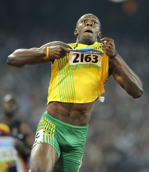 Jamaica's Usain Bolt won Olympic gold at the Beijing Games in the 100 meters, the 200 meters and the 400-meter relay, all in world-record times.