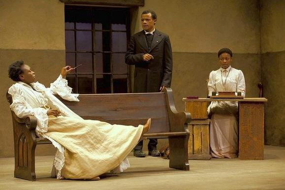 "Prudence (Zainab Jah), Chilford (LeRoy McClain) and Jekesai (Pascale Armand) in ""The Convert."""