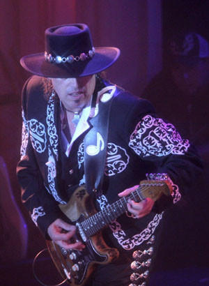 Alan Iglesias plays the guitar during a concert of his Stevie Ray Vaughn tribute band, Alan Iglesias and Crossfire, in this undated image.