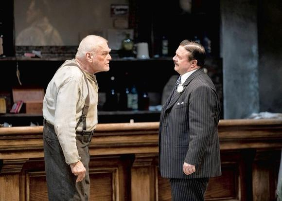 "Brian Dennehy as one-time anarchist Larry Slade, with Nathan Lane as Theodore Hickman in ""The Iceman Cometh,""  directed by Robert Falls at Goodman Theatre."