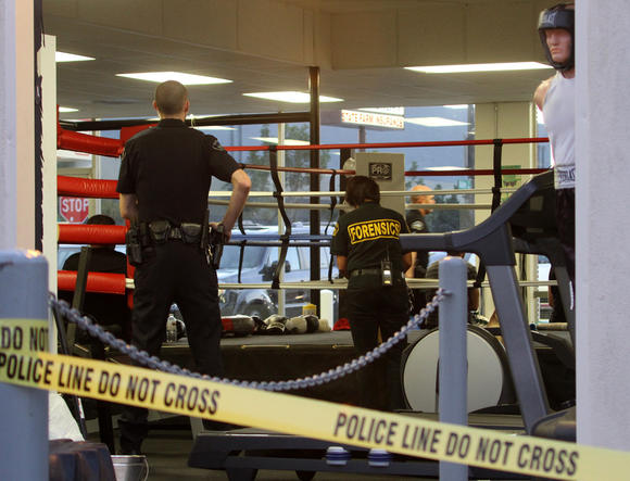 Burbank police investigate the scene were a 16-year-old boy died after sparring Thursday, July 26.