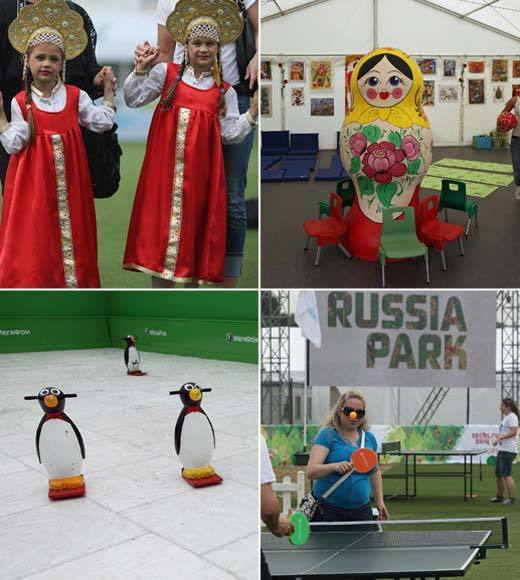 "The Russian delegation has set up a hospitality area in Kensington Gardens, which includes picnic zones, performance areas and lots of games for the kiddos. <br><Br>-- <i><a href=""http://twitter.com/andrealeigh203"">Andrea Reiher</a>, <a href=""http://www.zap2it.com"">Zap2it</a></i>"