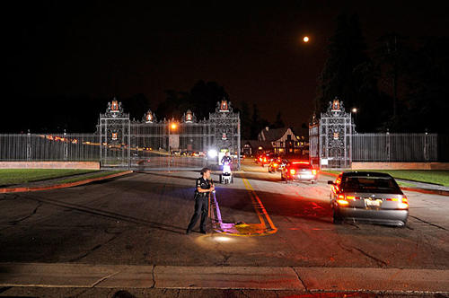 The 31-car funeral procession for Michael Jackson arrives at Forest Lawn Memorial-Parks in Glendale.