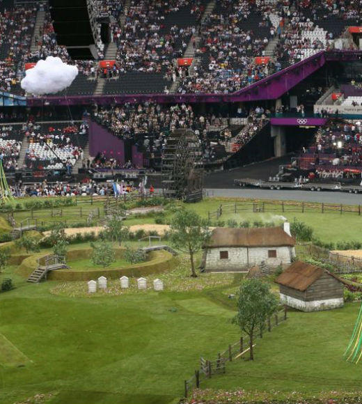 London 2012: Stunning mobile uploads from the Summer Olympics: Pic: An idyllic scene inside the Stadium. The #OpeningCeremony prologue begins - its a Green and Pleasant Land! --@London2012