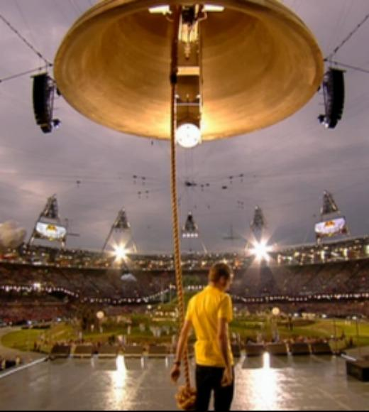 London 2012: Stunning mobile uploads from the Summer Olympics: Bradley Wiggins rings the bell to launch the 2012 Olympic Games opening ceremony --@inrng