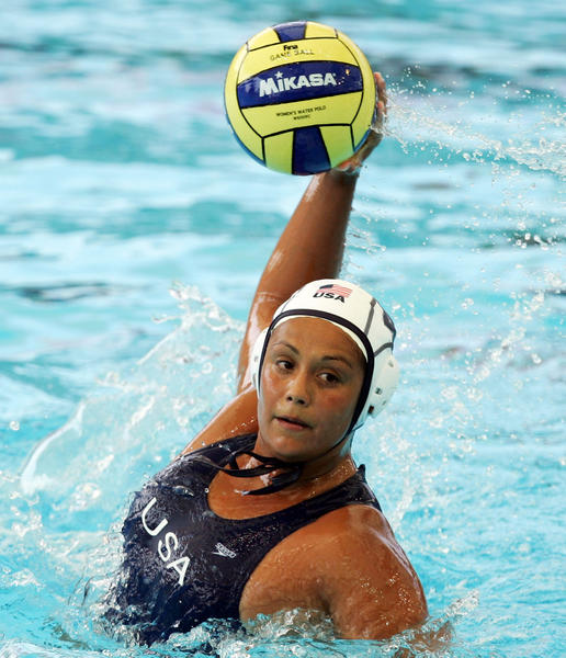 Brenda Villa of the United States prepares to shoot in the Women's Preliminary Round Group C Water Polo match between the United States and Kazakhstan at the Melbourne Sports & Aquatic Centre during the XII FINA World Championships in Melbourne, Australia.