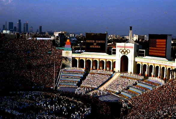 The Los Angeles Coliseum hosts the opening ceremonies of the 1984 Summer Olympics.
