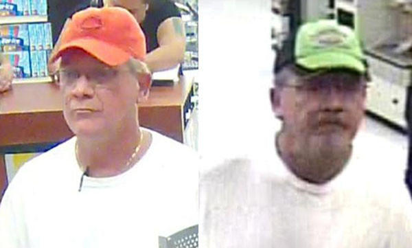A man who robbed a Glendale Heights bank today (left) also is suspected in a bank robbery last month in Stickney (right).