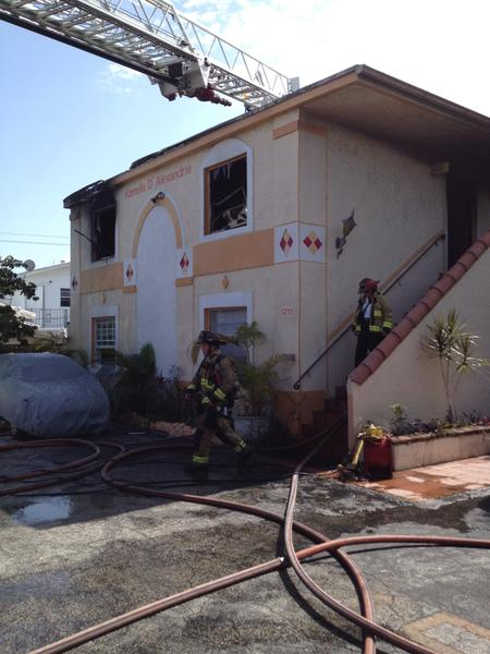One cat died but three others were saved from an apartment fire in Fort Lauderdale