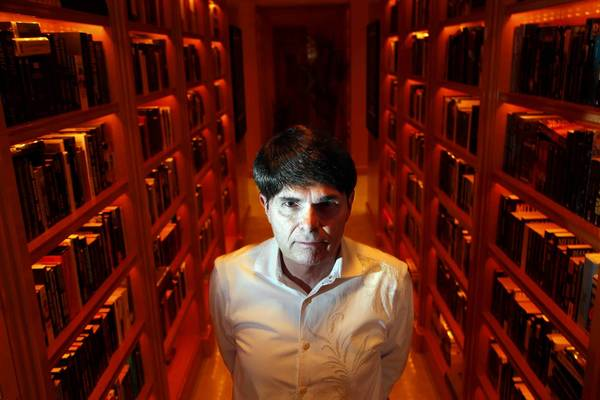 Author Dean Koontz in the library of his home in Newport Coast community of Newport Beach.