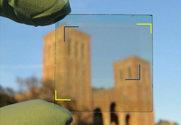 A new transparent solar film developed by UCLA researchers, laid over a piece of glass, is nearly invisible. The breakthrough makes possible windows that generate electricity and many other inexpensive applications.