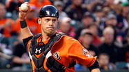 Orioles catcher <strong>Matt Wieters</strong> didn't start Friday night's game against theOakland A's, but it wasn't because he is mired in a 1-for-30 slump. Wieters was held out of the lineup because of a tight right bicep muscle.