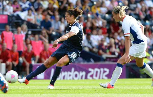 United States midfielder Carli Lloyd scored a goal with this shot against France in a preliminary round match of the 2012 London Olympics. Lloyd will replacing an injured Shannon Boxx in the starting lineup against Colombia.