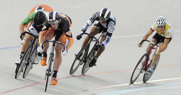 Matthew Baranoski of Perkasie, front, leads the pack to the finish line in the first Pro Men Keirin heat race during the 2012 Meade Orthopedics at Coordinated Health Keirin Cup at Valley Preferred Cycling Center in Trexlertown on Friday night.