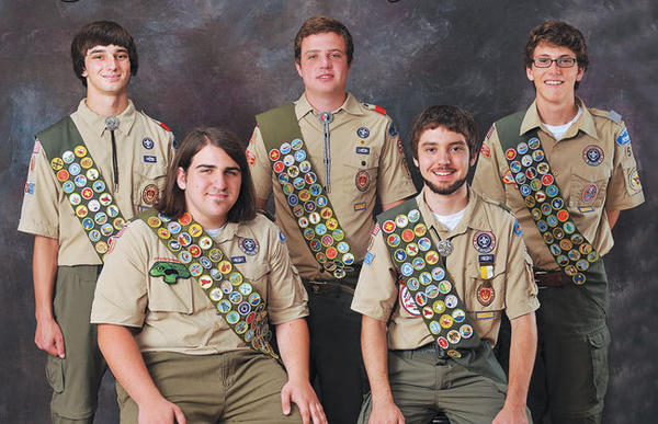 Eagle Scouts from Troop 56 pictured are, back row from left, Nicholas Lambert, Jansen Browning, Nicholas Oliver; front row, Eli Leslie, left, and Alan Bast. The Scouts will receive their Eagle Scout awards at a ceremony Aug. 5 at Emmanuel Episcopal Church.