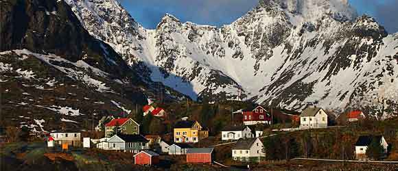 Fishing Village on Island of Moskenes on Lofoten Islands, Norway.
