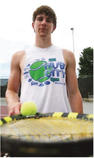 Kris Lauder of Ellendale, N.D., has developed into one of the top tennis players in the area. Lauder will be competing in singles, doubles and mixed doubles this weekend during the Hub City Open Tennis Tournament at the NSU Courts. American News Photo by Ryan Deal