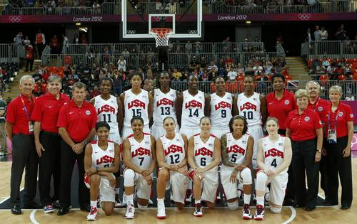 Members of the U.S. national team pose before their women's Group A basketball match against Croatia at the London 2012 Olympic Games in the Basketball arena July 28, 2012.