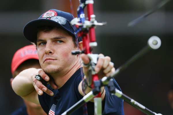 American Jake Kaminski concentrates during the Olympic archery competition.