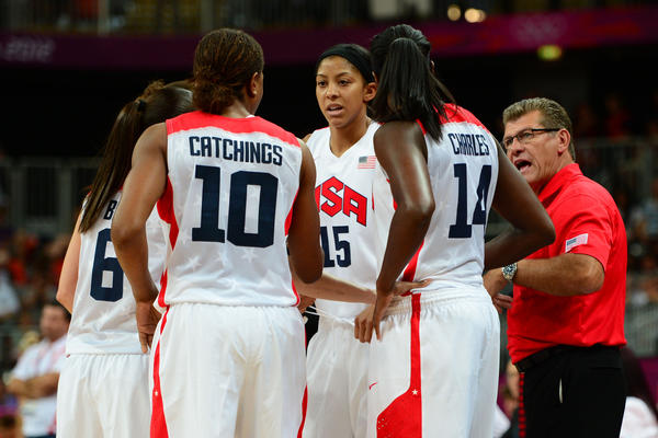 USA head coach Geno Auriemma instructs during the first half against Croatia at Basketball Arena.