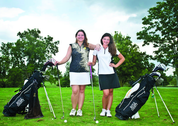 Boyle County golfers Brianna Cornett, left, and Caroline McDonald are hoping a successful end to the summer junior golf season can carry over to the high school season and help the Rebels earn a berth in the state tournament.