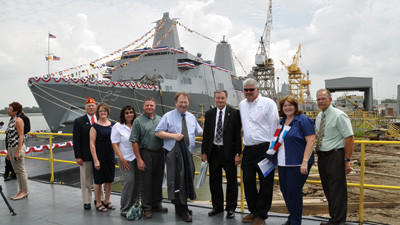 Somerset County residents were on hand for the christening of the USS Somerset Saturday morning in Avondale, La. From left, are Robert and Marilyn Lohr, Peggy and Jack Illar, Henry Cook, Somerset County Commissioner John Vatavuk, John Weir, Janet Vatavuk and Dick Stern.