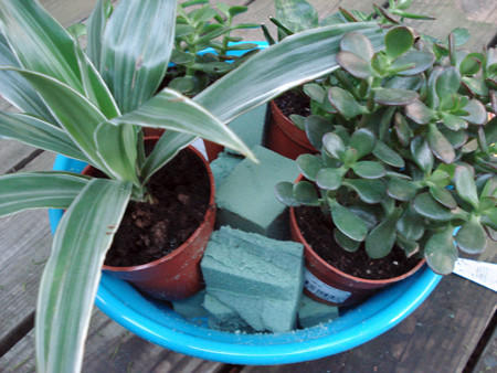 Use pieces of foam to fill in pots when you plant.
