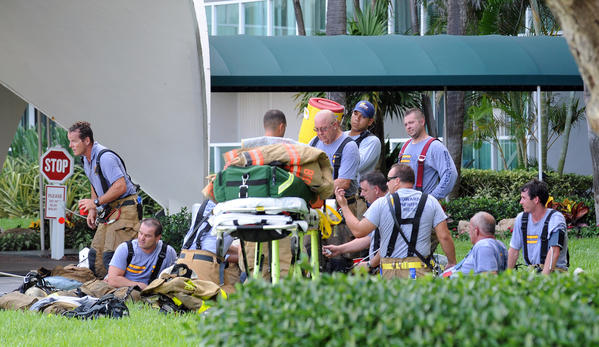 Broward County Fire-Rescue responds to a fire at the Tierra East condominium building at 333 N. Ocean Drive in Deerfield Beach. 7/28 /12. Jim Rassol, Sun Sentinel.