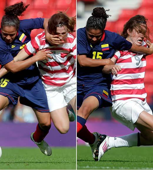 "The U.S. women's soccer team took on Colombia in group play Saturday and it got a little ugly at times. You can see at left that midfielder Heather O'Reilly took a few shots. Forward Abby Wambach got the worst of it, though -- she actually got punched in the face when the referee wasn't looking. <i>Punched in the face</i>. We're sad we don't have a photo.<br><Br>The U.S. won 3-0, though, so at least the muggings didn't put them off their game.<BR><BR>-- <i><a href=""http://twitter.com/andrealeigh203"">Andrea Reiher</a>, <a href=""http://www.zap2it.com"">Zap2it</a></i>"