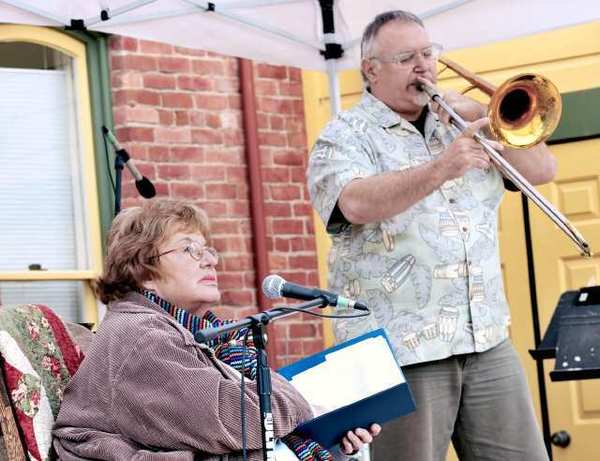 A live musical tribute to the late poet and music enthusiast Dottie Grossman, shown here with trombonist Michael Vlatkovich, is being held Sunday, July 29, at the Glendale Moose Lodge.