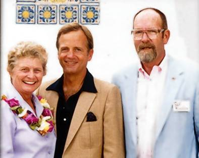 From left, Nell Hinshaw, 1984 Los Angeles Olympics organizer Peter Ueberroth, and Ted Hinshaw.