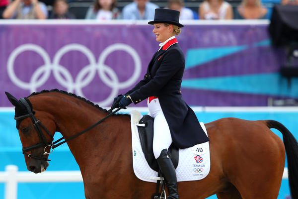 "Zara Phillips, granddaughter of <a class=""taxInlineTagLink"" id=""PEHST000617"" title=""Elizabeth II"" href=""/topic/politics/government/heads-of-state/elizabeth-ii-PEHST000617.topic"">Queen Elizabeth II of Great Britain</a>, competes in the dressage equestrian event Sunday."